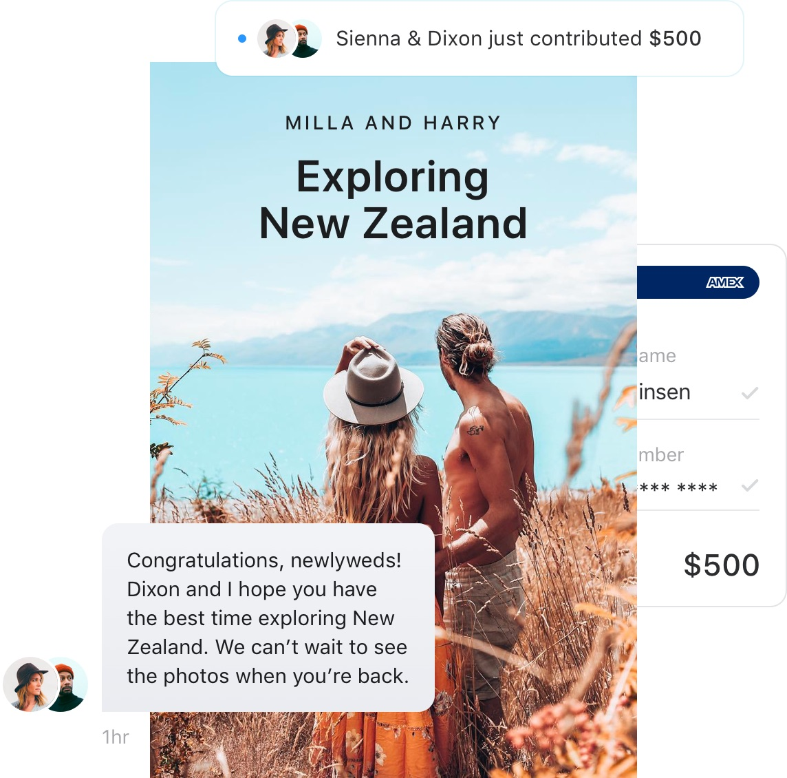 An image of a wedding gift in New Zealand being funded by a wedding guest