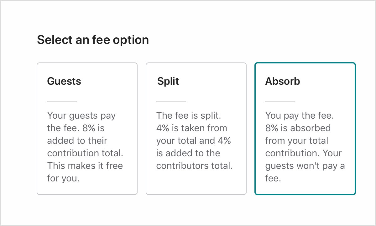 Three fee options with the last option selected