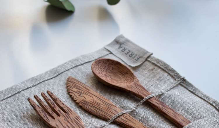 Eco-friendly tableware in a leafy backdrop