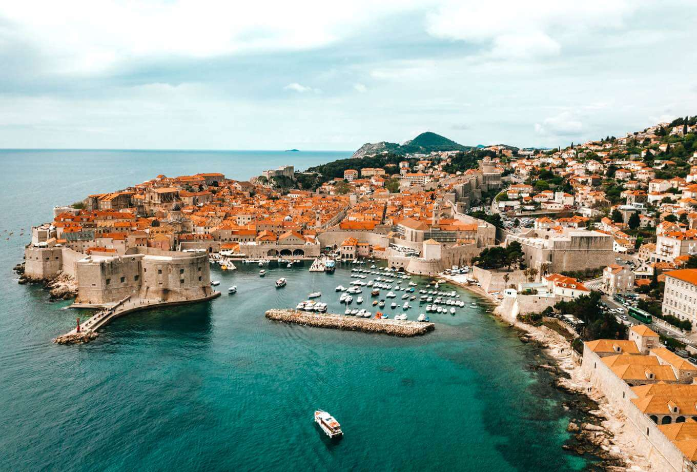 Boats docking in stunning Dubrovnik harbour